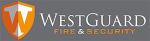 Westguard Fire & Security logo on grey background