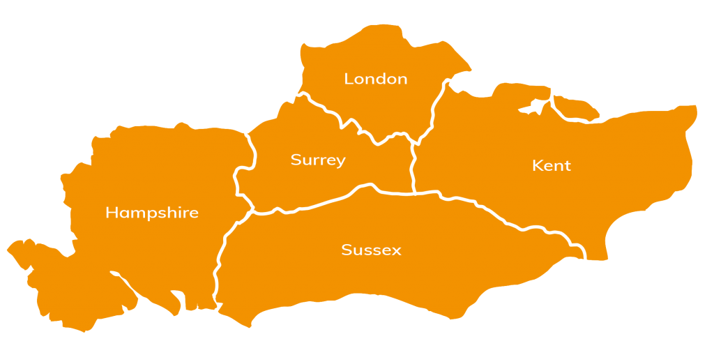 Map of the counties covered by Westguard - Hampshire, Surrey, London, Kent and Sussex